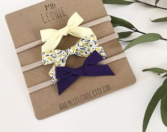 Headbands for baby / child nylon - loops knotted fabric - pale yellow small lemons, dark purple or the complete trio