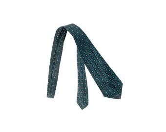Vintage 30s Necktie - 30s Silk Necktie - Charvet - Charvet Necktie - Charvet Silk - Green Red White - 30s Charvet Tie - 30s Silk Cravat