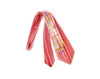 Vintage 40s Tie - 40s Necktie - 40s Cravat - Wide 40s Tie - 40s Hand Painted Tie - Superba Tie - 40s Superba Tie - Pink Blue Yellow - Swing