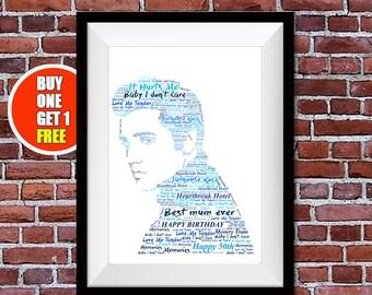 Elvis artwork,  Elvis present, Elvis , Elvis  print, Elvis word art