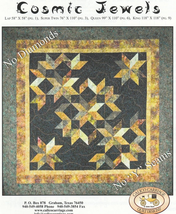 Cosmic Jewels Quilt Pattern - 4 Sizes - Calico Carriage Quilt ... : calico carriage quilt designs - Adamdwight.com
