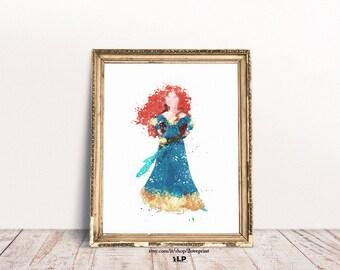 The Brave Watercolor. Disney The Brave Merida. Princess Merida Art. Poster Merida Disney. Decor for baby girls bedroom. Watercolor baby art