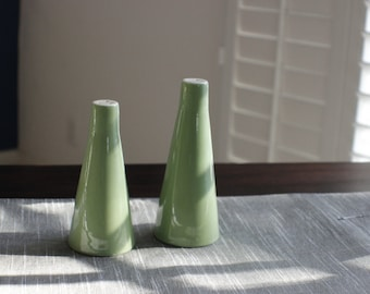 Mid Century Tall Green Salt and Pepper Shakers