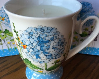Soy Candle in Burton and Burton Hydrangea Mug, Hand Poured & Highly Scented Eco Friendly, Clean, Long Burning, Hydrangea Scent
