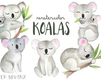 Watercolor Koalas Clipart   Koala Bear Family - Illustrated Nursery Wall Art - Baby Showers - Mommy and Baby Australian Clipart