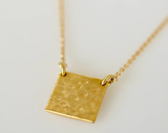 Square Plate Necklace, Thick Square Pendant Necklace, Simple, Modern, Minimal Necklace, 14k Gold Fill, Sterling Silver, Layering Necklace