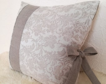 Linen Cushion Cover With Bow - Gray Linen Pillow Cover - Jacquard Decorative Pillow - Natural Linen Throw Pillow - French Style Pillow Cover