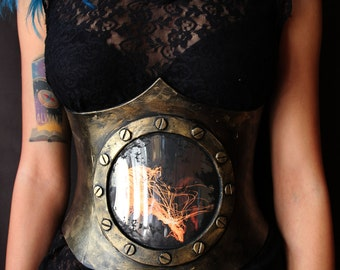 Steampunk / post apocalyptic underbust Corset. porthole with jellyfish. Armor like, fake metal.  fantasy costume. cosplay and larps.