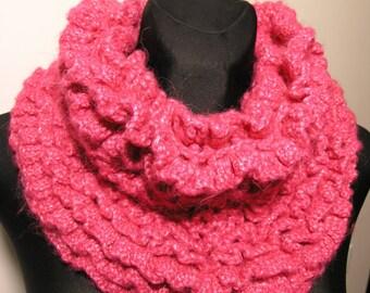 Bright pink crochet neck warmer