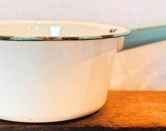 Vintage Chippy Enamelware Sauce Pan with Teal Handle