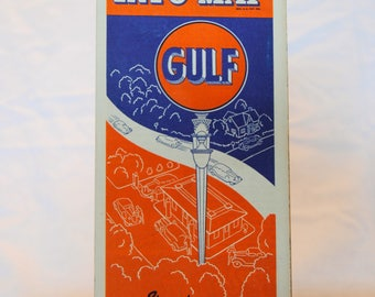 Vintage Gulf Info-Map of New York