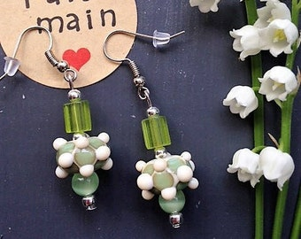 Glass Lampwork earrings / ivory and celadon Green