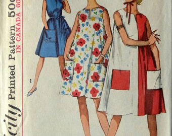 1960s Simplicity Vintage Sewing Pattern 5300, Size 10-12; Misses' One-Piece Dress in Two Lengths and Scarf