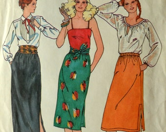 Uncut 1980s Butterick Vintage Sewing Pattern 6530, Size 14-16-18; Misses' Skirt and Belt