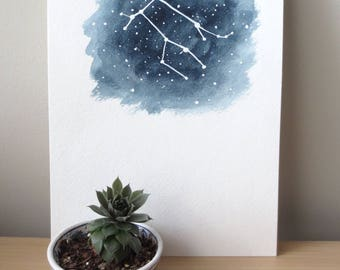 Gemini zodiac watercolor painting