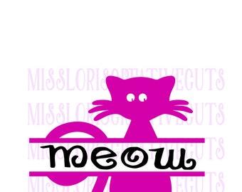 Cat split letter template  SVG   cut file  t-shirtsscrapbook vinyl decal wood sign cricut cameo Commercial use