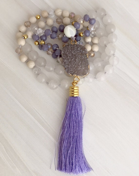 Mala with purple druzy, tassel necklace, yoga beads, long statement necklace
