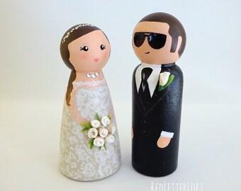 Custom Wedding Cake Topper//Peg Doll Cake Topper//Personalized Bride and Groom//Custom Wedding Gift//Custom Peg Dolls