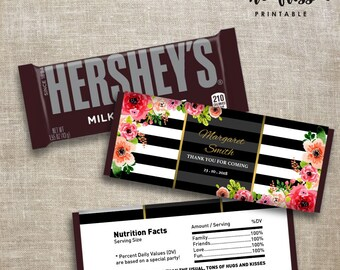 Black and White Stripe Flower Candy Bar Label | Hershey Chocolate Wrappers | Editable | Printable | Instant Download