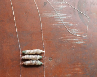 "Cocoon Necklace : Handmade Abaca Paper and Copper Beads, Freshwater Pearls, Sterling Silver 30"" Chain"
