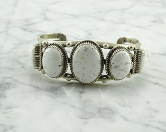 Native American White Turquoise Sterling Silver Cuff
