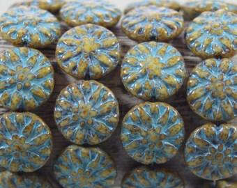 Czech Glass Beads, 14mm Dahlia Flower Beads, 10 Pcs