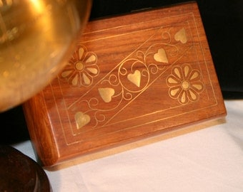 Wooden Trinket Box With Brass Inlay//Jewelry Box//Home Decor//Vintage Box
