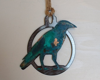 Patina Raven Ornament