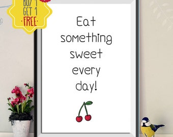 Fitness poster, Red Cherries quote art print, kitchen Wall art, childrens art prints, Fruit print, kids room art, Motivational wall decor