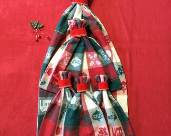 Plaid Gift Bags - Fabric Gift Bags - Christmas Gift Bags - Cloth Gift Bag - Christmas Gift - Up to Set of 5 - Upcycled - Reusable Gift Bags