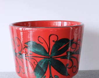 Mid Century Bright Red Italian Ceramic Plant Pot with Vibrant Green Flower Print Vintage
