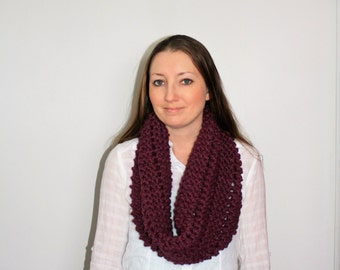 Knit Scarf Cowl, Purple Knit Infinity Scarf, Knit Chunky Scarf, Knit Cowl, Aurora Scarf - Fig