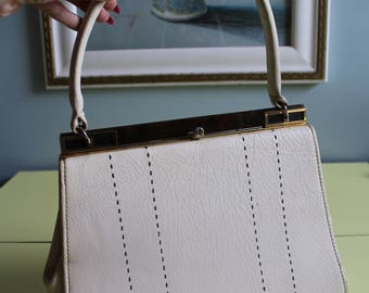Amazing Vintage 60's Cream and Brown Handbag