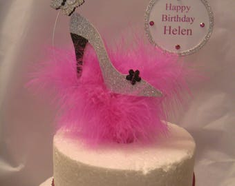 a glitter butterfly shoe butterfly bright pink Feather Birthday Cake Topper any  Name and age