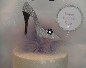 a glitter butterfly shoe butterfly lilac Feather Birthday Cake Topper any  Name and age