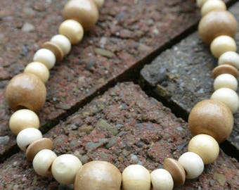 Chunky Natural Wood Bead Necklace