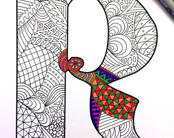 "Letter R Zentangle - Inspired by the font ""Deutsch Gothic"""