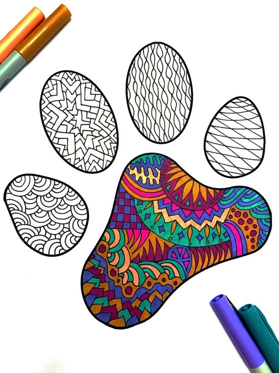 Paw Print Pdf Zentangle Coloring Page