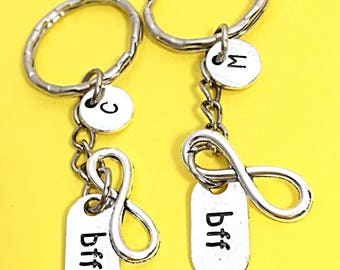 Best friends keychain - set of two, bff charm, 2 bff keychain, set of 2  best friend,customized keychain,monogram,initial keychain, bff gift