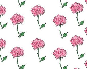Rose Floral Patern, digital watercolor paper, drawing, illustration, print, printable, download, scrapbooking, PDF, JPG, PNG