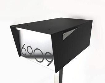 Wide Minimalist - Modern mailbox - stainless steel design - post mounted - locking - black - post mount WM81121B