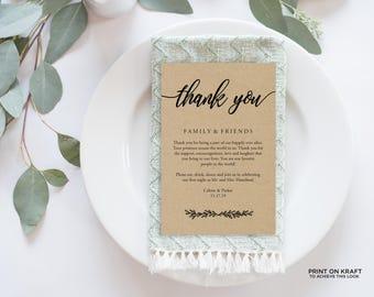 "Wedding Thank You Card, Rustic Wedding, Thank You Printable, Wedding Calligraphy, Wedding Table Thank You, Agenda   4x6""   No. EDN 5487Black"