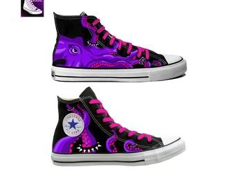 Purple Octopus Painted Canvas Converse