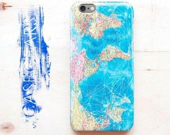 Blue World Map Phone Case Phone 7 Plus case 6 case iphone S5 case Case S6 Phone S7 case S6 Galaxy case Case 5 Phone CGP0103
