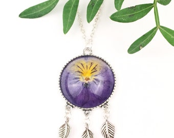 Purple pansy necklace, Dreamcatcher necklace, Floral dreamcatcher jewelry, Silver dreamer necklace, Violet pendant, Real flower jewelry