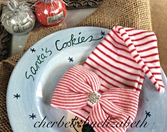 Elf bow hat for Christmas!  Baby girl Christmas hospital hat with bow bling,  holiday coming home hat, free gift wrap, red and white striped