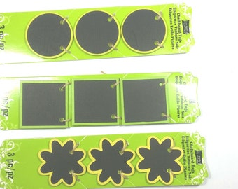 Mini Chalkboard Tags Green Circle Square Flower Chalk board Tags Craft Fair Signs Jute Twine
