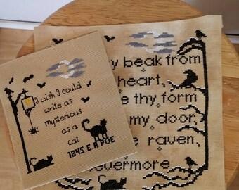 Pattern, Edgar A. Poe patterns, Cross Stitch patterns, Nevermore, Black Cat, Needlepoint patterns, Set of Two