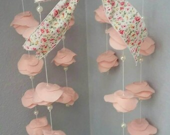Felt Rose mobile with pearl and flower ribbon