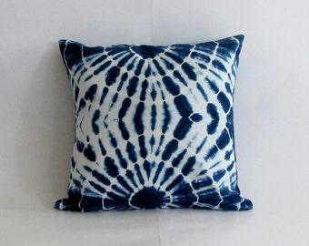 Indigo Handmade Tie & Dye, Shibori pillow cover,cushion cover,throw pillow, 18  x 18 inches. Boho.